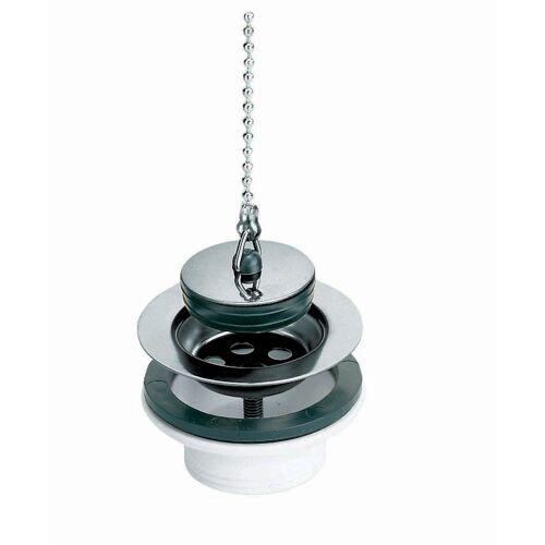 Bonde lavabo/bidet PVC avec grille inox, bouchon et chaînette image
