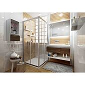 Paroi de douche accès d'angle-semi cadré Ancoswing - profilé blanc image