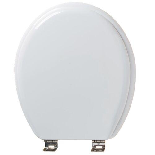 Abattant WC double Tradition en hêtre à charnière Inox - blanc image