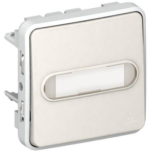 Poussoir Plexo lumineux avec porte étiquette composable - Blanc image
