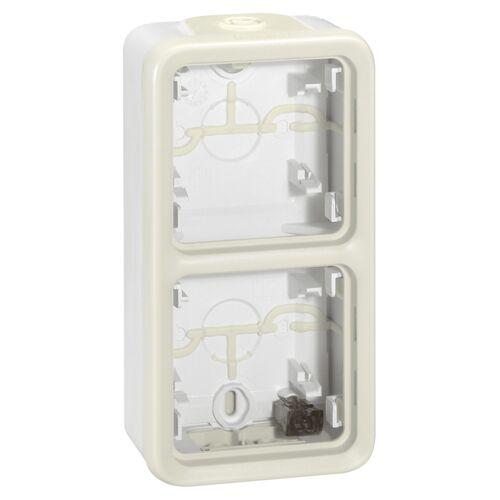 Boitier étanche Plexo composable Blanc 2 postes vertical image