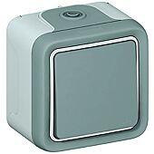 Interrupteur ou va-et-vient étanche Plexo complet en saillie IP55 10AX 250V - gris image