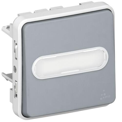 Poussoir Plexo lumineux avec porte étiquette composable - Gris image