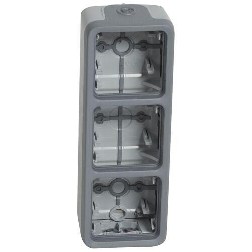 Boitier étanche Plexo composable Gris 3 postes vertical image