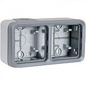 Boîtier étanche 2 postes horizontaux Plexo composable IP55 - gris image