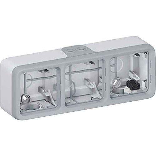 Boitier étanche Plexo composable Gris 3 postes horizontal image