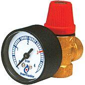 Soupape de sécurite chauffage avec manomètre 3Bars image