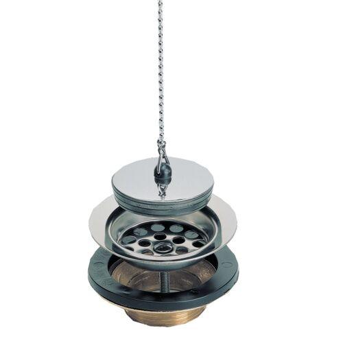 Bonde Laiton évier grès/synthèse avec grille inox, bouchon et chaînette image