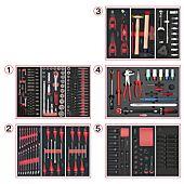 Composition d'outils de service rapide 5 tiroirs pour servante, 283 pièces image