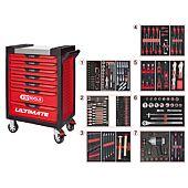 Servante ULTIMATE rouge 7 tiroirs équipée de 337 outils image