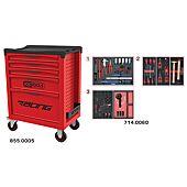 Servante RACING 5 tiroirs équipée de 60 outils - spéciale Roue image
