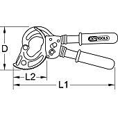 Coupe-câble isolé à cliquet - capacité 52 mm image
