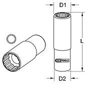 """Douille pour injecteur 1/2"""", 12 pans 28 mm image"""