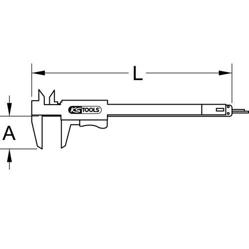 Calibre à coulisse à double bec, 1/50ème mm - 0-150 mm image