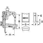 Extracteurs universels à trois griffes réglables et bras de potence pivotants image