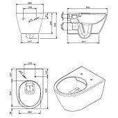 Cuvette WC suspendue Ancodesign sans bride - abattant frein de chute image
