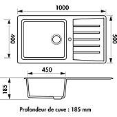 Evier CAPITOLE blanc - 2 cuves et 1 égouttoir image