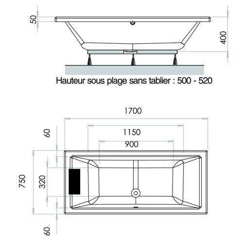 Baignoire rectangulaire NEW ANCO acrylique avec coussin repose tête image