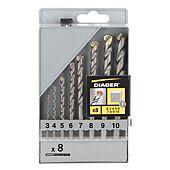 coffret 8 forets béton Flash attachement cylindrique diamètre 3,4,5,6,7,8,9,10mm image